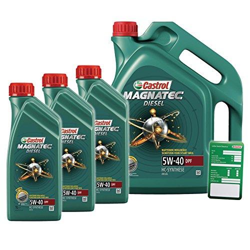 Klimaanlage Öl (3x 1 L + 5 L = 8 Liter Castrol Magnatec Diesel 5W-40 DPF Motor-Öl Motoren-Öl inkl. Castrol Ölwechsel-Anhänger; Spezifikationen/Freigaben: API SM/CF; ACEA C3; VW 502 00/505 00/505 01; MB-Freigabe 229.3)