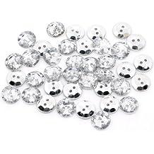 50x redondo cristal plástico sintética diamantes 20mm botones con 2agujeros de costura. Para manualidades, joyas Bling, y arte/Scrapbooking.