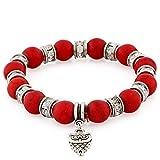 Morella Damen Armband Steinperlen mit Anhänger Eule und Zirkoniasteinen elastisch rot