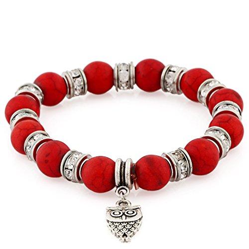 Morella® Damen Armband Steinperlen mit Anhänger Eule und Zirkoniasteinen elastisch rot