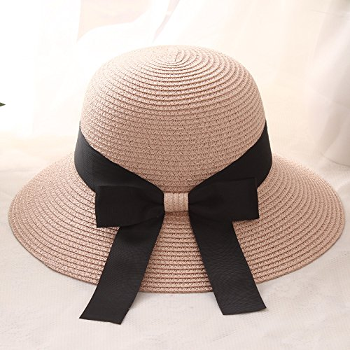 Summer Ladies Hat Bow Ribbon Beach Sun Hat Tide Outdoor Holiday Sun Hat,Bare (Kostüme Party Für College Jungs)