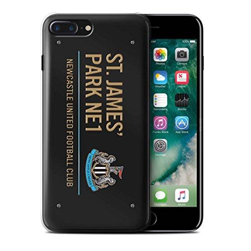 Officiel Newcastle United FC Coque / Etui pour Apple iPhone 7 Plus / Blanc/Bleu Design / St James Park Signe Collection Noir/Or