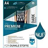 SKULLPAPER Premium A4 T-Shirt Tessile Transfer Film per i tessuti DARK e COLORATI / Tessili per la stampa - incl. 200 + modelli di motivo gratis - Carta Transfer / Film Tessile per Inkjet stampante a getto d'inchiostro plotter (16 fogli)