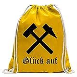 KIWISTAR - Glück auf! - Bergbau - Kumpel Turnbeutel Fun Rucksack Sport Beutel Gymsack Baumwolle mit Ziehgurt