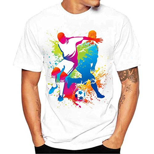 Oversize Herren T-Shirt Fußball Drucken Kurzarm Blouse Herren Slim Fit Baumwolle O-Ausschnitt Coole Strassenbande Pullover Trainings Sport Sweatshirt (M, Weiß) (Hollister Pullover Weiß)