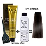 Lot coloration cheveux 100 ml Oro Therapy châtain 4/ + oxydant 20 volumes 150 ml