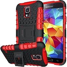 """Funda Samsung Galaxy S5, ykooe Teléfono Híbrida de Doble Capa con Soporte Carcasa para Samsung Galaxy S5 5,1"""" (S5 Funda Rojo)"""