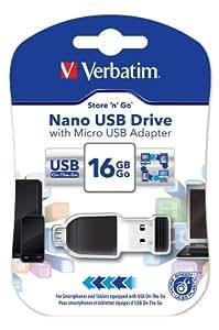 Verbatim Nano Store N Stay OTG USB Drive 16GB USB2.0 mit OTG-Adapter