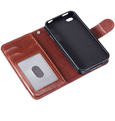Custodia iPhone 4s - LANOU iPhone 4 Flip Cover Custodia in pelle Portafoglio Protettiva Case per iPhone 4s / 4 – Nero Marrone