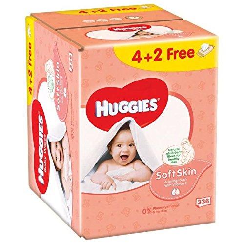 HUGGIES Nouvelles Lingettes Soft Skin 4+ 2 Gratuite (6x 56)