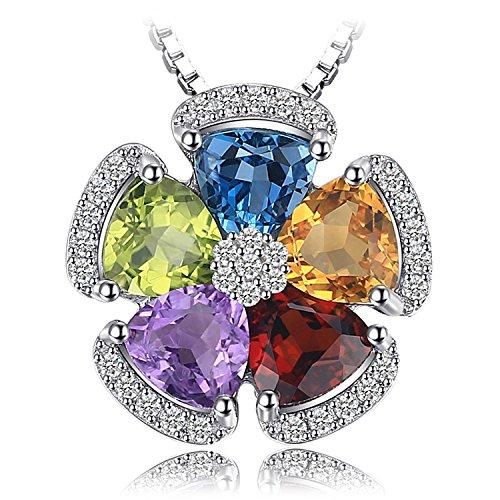 JewelryPalace 2.6ct echter Edelstein Swiss Blau Topas Amethyst Citrin Granat Peridot Anhänger 925 Sterling Silber