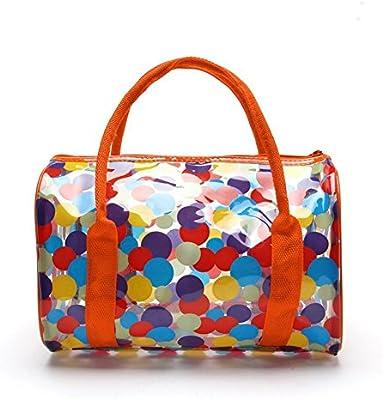 TININNA Moda y Simple bolso de mano, Impermeable Transparentes Bolsa de Mano, Bolso de Playa del PVC y Poliéster con el Bolso Cosmético Pequeño.-rojo