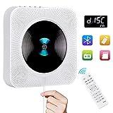 Gueray Lecteur CD Portable Bluetooth Mural Haut-Parleur HiFi Intégré (Blanc01)