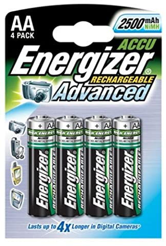 Energizer Reachargable Advanced AA Size NIMH, 2450MAH, 1.2V , 4 Batteries in a pack