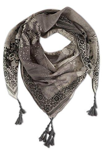 fashionchimp ® Schal für Damen aus Viskose mit Muster-Mix und Zier-Quasten, Dreieck-Tuch (Schwarz)