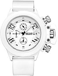 Megir 2002Banda de silicona 3subdiales viable Cronógrafo Cuarzo deportes hombres del reloj de pulsera (blanco)