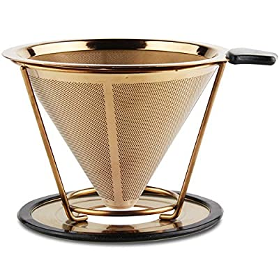 Sivaphe Coffee Fliter 304 Stainless Steel Double-Layered Mesh Paperless Reusable Cone Coffee Dripper Cup Filter 2 Cup(Gold, Sliver)