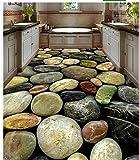 Rutschfeste wasserdichte selbstklebende Pvc-Tapete farbige Kopfstein-Bodenfliesen-Bodenfliesen Modernes kundenspezifisches Boden-Wandgemälde 3D