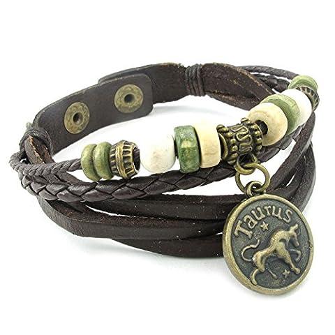 AMDXD Bijoux Acier Inoxydable Bracelets de Liaison pour Hommes Brown (Verseau) Marron Taureau