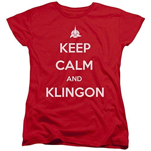 Star Trek Calm Klingon Womens Short Sleeve Shirt Red Lg