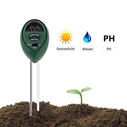 3-in-1 Bodentester, DEEPOW Boden Feuchtigkeit Meter Licht und pH Säure Tester, Digital Bodenmessgerät  für Garten, Pflanzen, Bauernhof, Rasen, Indoor und Outdoor (Keine Batterie Erforderlich)