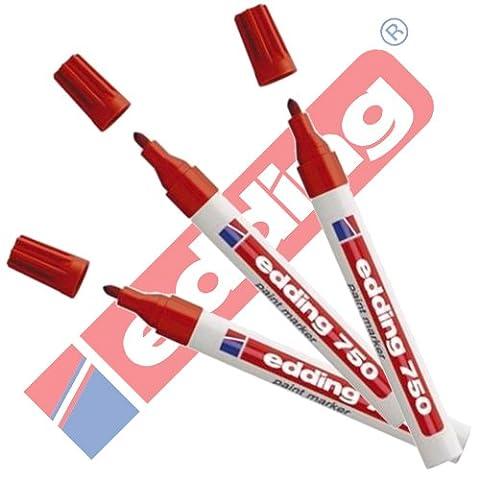EDDING 750 Lackmarker 3er Sparpaket   10 Farben & Sortierte zur Auswahl! (Rot)