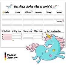 Planificador semanal y Cartapacio para arrancar con unicornio / DIN A3Papel 50hojas/Fabricado en Alemania de pegatinas Stickerwald®