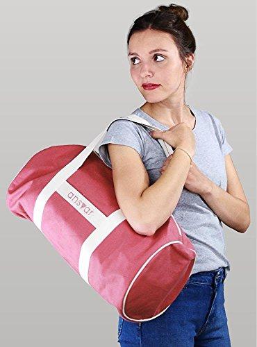 Sporttasche ansvar III aus Bio Baumwoll Canvas - Hochwertige Damen & Herren Sporttasche, Duffle Bag aus 100% nachhaltigen Materialien - mit GOTS & Fairtrade Zertifizierung, Farbe:altrosa - 3