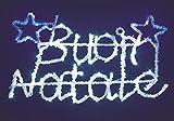 IMPORTEX Scritta LED Buon Natale in Acrilico Colore Blu e Bianco da 52 x 23 cm