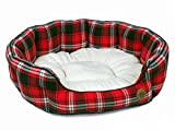 Petface Red Tartan Check Oval Dog Bed, X-Large