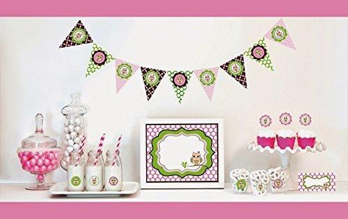 1 SET of 95 Pink Owl Decorations Starter Kit by Eventblossom -