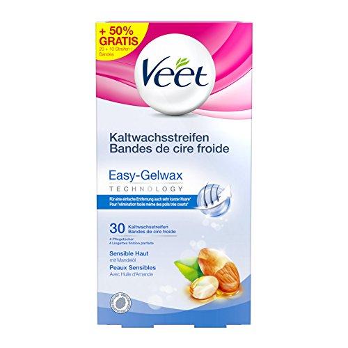 Rasieren, Haut-behandlung (Veet Kaltwachsstreifen Easy-Gelwax Technology Beine und Körper für sensible Haut, Vorteilspack, 30 Stück (10 Stück gratis))