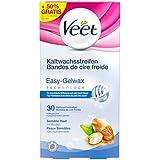 Veet Kaltwachsstreifen Easy-Gelwax Technology Beine und Körper für sensible Haut, Vorteilspack, 30 Stück (10 Stück gratis)
