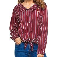 Damen T Shirt,Geili Frauen Mädchen Bogen Knoten Krawatte Gestreift Revers Knopf Langarm Shirt Tops Bluse Damen... preisvergleich bei billige-tabletten.eu