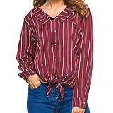Damen T Shirt,Geili Frauen Mädchen Bogen Knoten Krawatte Gestreift Revers Knopf Langarm Shirt Tops Bluse Damen Nette Elegante T-Shirt Basictop