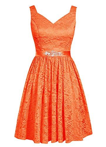 Dresstells, robe courte de demoiselle d'honneur en dentelle col en V Orange