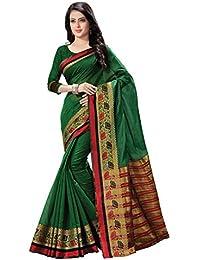 Kanchar Women's Cotton Silk Green,Maroon Border Party Wear Saree
