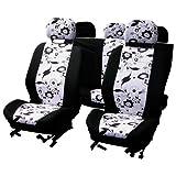 Carpoint 0310122 Black Flower - Fundas para asientos (9 piezas), color blanco y negro
