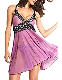Dearlove Floral Lace Underwire Bow-knot Abertura Babydoll con G-string