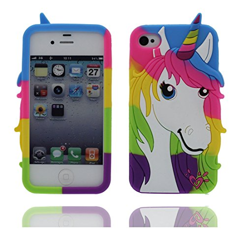 "iPhone 4 (3.5"") Hülle, [Einhorn, unicorn flexible durable TPU] rückseitige Handy für iPhone 4s 4G 16GB 32GB 64GB, iPhone 4 (3.5"") Case, Anti-Beulen, Fingerabdrücke, Kratzer Color 2"
