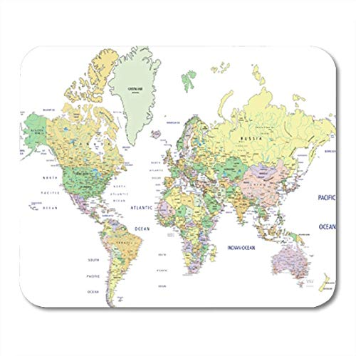 Gaming Mauspad Blue Detail Highly Detailed Political World Map Labeling States USA 11.8