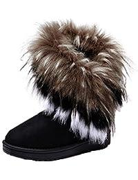 ZEARO Botas de Nieve Mujer Botas al Tobillo Botón Forrada de Piel Zapato Invierno Nieve Lluvia Botas