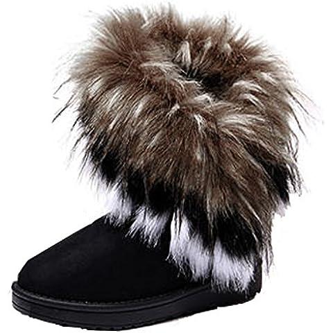 CRAVOG Mujeres Señora Piel Nieve Botas de Ante Media Pantorrilla Classic Zapatos Botas de Invierno Tobillo