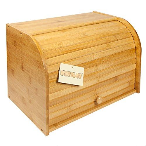 woodluv Bamboo Double Decker 2 Layer Roll Top Wooden Bread Bin Kitchen Storage, Wood