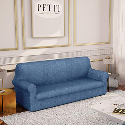 PETTI Artigiani Italiani - Copridivano, Copridivano Elasticizzato, Copridivano 3 Posti, Blu, Tessuto Jaquard, 100% Made in Italy