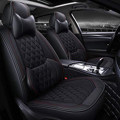 Cuscino per seggiolino auto estivo Four Seasons universale in pelle e seta color ghiaccio Tappetino per auto All-Inclusive Coprisedili per auto Set completo in pelle universale,Black