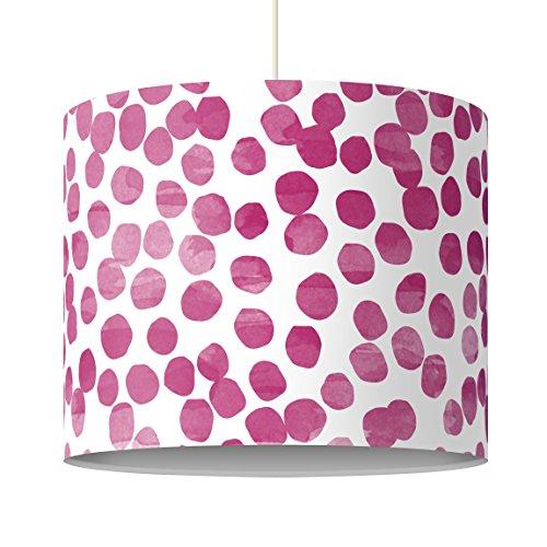 Bilderwelten Kinderlampe Punktemuster Pink Lila - Lampe - Schirmlampe Punkte Hängelampe Lampenschirm, Größe HxB: 34cm x 40cm