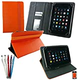 Emartbuy® Bündel von 5 2 in 1 Eingabestift + Universalbereich Orange 3D Cube Multi Winkel Folio Executive Case Cover Wallet Hülle Schutzhülle mit Kartensteckplätze Geeignet Für Odys Connect 7 Zoll Tablet Phone