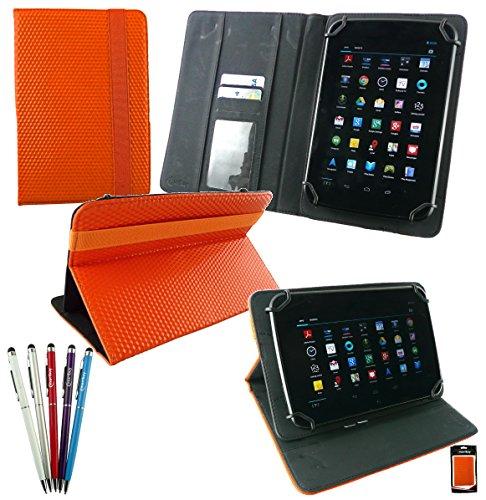 emartbuy Bündel von 5 2 in 1 Eingabestift +Universalbereich Orange 3D Cube Multi Winkel Folio Cover Wallet Hülle Schutzhülle mit Kartensteckplätze Geeignet Für I.onik TP - 1200QC 7.85 Zoll Tablet