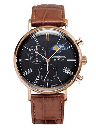 Zeppelin Montre pour homme chronographe avec bracelet en cuir Lune Phase 5ATM 7196–2
